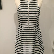 Women's Express Fit & Flare Sleeveless Dress With Pockets Blk/wht Striped-Sz 6 Photo