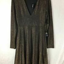 Women's Express Gold / Black Dress Med Photo
