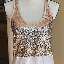 Women's Express Gold & Silver Sequin Bling Racerback Tank Top  Size S Photo