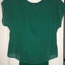 Women's Express Green Layered Sparkle Knit Too Shirt Worn Once Size Xs Photo