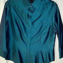 Women's Express Iridescent Blue Silk 3/4 Sleeve Shirt/chest Pocket (Size 5/6) Photo