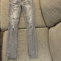 Womens Express Jeans Mid Rise Leggings Gray Distressed Stretch Denim Sz 4r Euc Photo