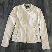 Women's Express Minus the Leather Moto Jacket Medium M Beige Sand Photo