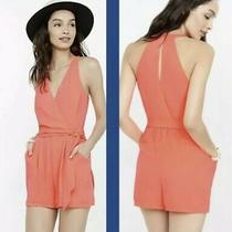 Womens Express Neon Coral Halter Romper Size 4 Photo