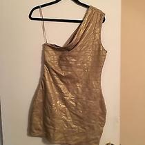 Women's Express One Shoulder Gold Dress Size Medium Photo