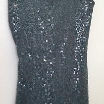Women's Express Sequin Dark Green Sleeveless Fitted Top Size S Photo