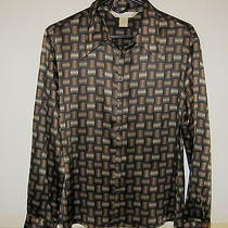 Women's Express Silk Brown/bronze 100% Silk Blouse Size M Photo