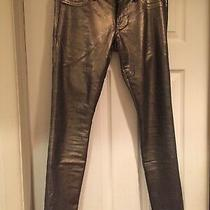 Women's Express Size 6 Skinny Jeans Gold & Black Photo