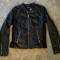 Womens Express Size Large L Black Faux Leather Jacket Fitted Coat Silver Photo