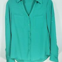 Women's Express Size Xs Green Button Front Long Sleeve Top Photo