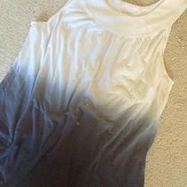 Women's Express Sleeveless Ombre (White to Gray) Long Blouse Top Ring Neck Sz S Photo