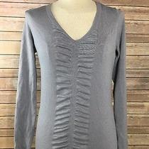 Women's Express Stretch Ruffle Grey Blouse Top Size Medium Photo