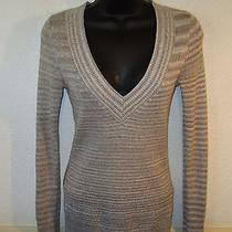 Women's Express Tan Metallic Long Sleeve v-Neck Sweater Size S/p Photo