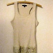 Women's Express Tank Top-Tan Knit -Lace--Size Medium--H Photo