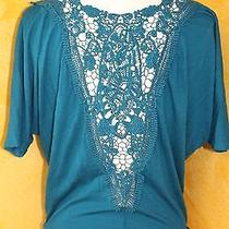 Women's Express Teal Short Sleeve Shirt With Open Crocheted Back Size Xs Photo