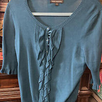 Womens Express Turquoise Button Up Sweater With Ruffle Accents Size Small Photo