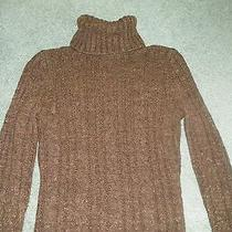 Women's Express Turtleneck Cable Knit Xs Brown With Gold Flecks Sweater Photo