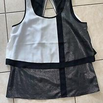 Women's Express White Silver Black Top Size Xs Photo