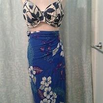 Women's Fantasie Blue Floral Bikini Swimsuit Top Size 36g & Sarong Wrap Photo