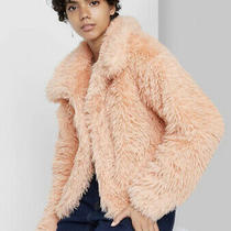 Women's Faux Fur Jacket Wild Fable Blush Pink L Nwt Photo