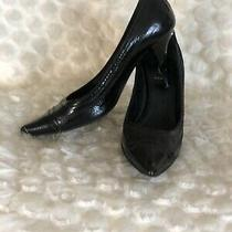 Women's Fendi Black Leather Formal Heels Size 38.5 Photo