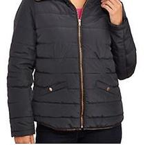 Women's Fitted Puffer Coat With Rose Gold Accents- Navy Size M Photo