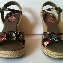 Women's Floral Corduroy Skechers High Heel Wedge Sandals Size 6m Photo