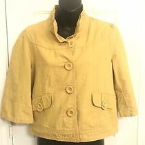 Women's Forever 21 Lightweight Jacket Yellow Size Large Enlarged Buttons Coat Photo
