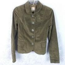 Womens Fossil Army Green Button Front Blazer Jacket Size Xs Suede Look Photo