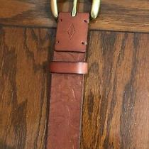 Women's Fossil Belt Gold Buckle Floral Leather Belt Brown Size Large Photo
