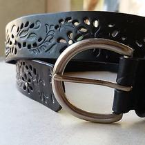 Women's Fossil Black Large Leather Belt Pierced Floral Design Nwt Photo
