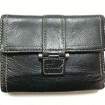 Women's Fossil Black Leather Tri-Fold Wallet W/outside Zipper Coin/fold Out Card Photo