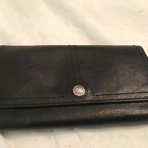 Womens Fossil Black Leather Trifold Id & Card Wallet  Photo