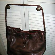 Women's Fossil Brown Leather Drawstring Handles Shoulder Bag Tote Purse Slouchy Photo