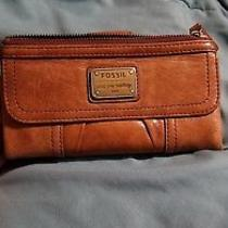Women's Fossil Emory Clutch Distressed Brown Leather Wallet Long Live Vintage Photo