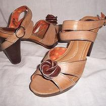 Women's Fossil Fauna Floral Leather Heeled Sandals Cream Sz 8.5 M - Brand New Photo