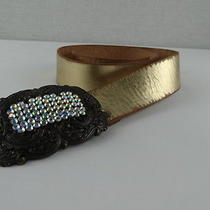 Women's Fossil Gold Leather Belt. Sparkle Buckle. Size M Photo