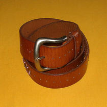 Women's Fossil Light Brown Genuine Leather With Studs/faux Jewels Belt Size M. Photo