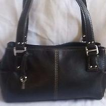 Women's Fossil Litely Pebbled Black Leather Shoulder Bag Tote Purse Photo