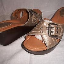 Women's Fossil Maxine Leather Slide Sandals Pewter Sz 10 M - Brand New Photo