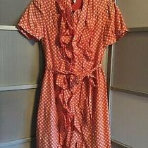 Womens  Fossil Short Sleeve Coral Ruffled Cotton Silk W/ Tie Waist Dress Sz Xs Photo