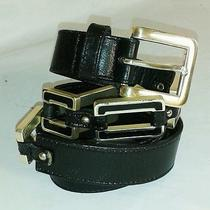 Women's Fossil Western Silver-Tone and Black Genuine Leather Belt Size M  Photo