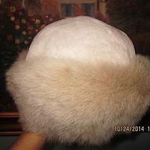 Women's Fox Fur Hat With Sheared Beaver Fur Crown Blush Color Size M Photo