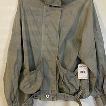 Women's Free People Jacket Green W Blue Spots Size M Buckle Buttons Nwt148 Photo