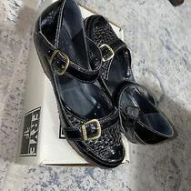 Womens Frye Black Woven Patent Leather Flats Size Emma Buckle 7.5 Photo