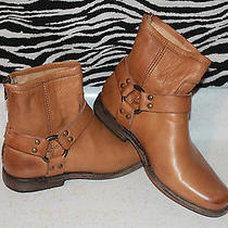 Women's Frye Phillip Harness Camel Leather Short Boots Size 6.5m Photo