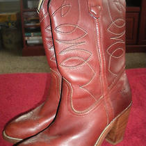 Women's Fyre Size 8 1/2 Cowboy Boots Reddish Brown Leather Made in Usa Photo