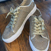 Women's G by Guess Lace Up Gold Glitter Sneakers Size 7.5 M Euc Photo