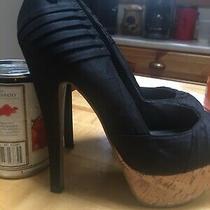 Women's G by Guess Size 8 M Thriller Heels Black Peep Toe Cork Stiletto Photo