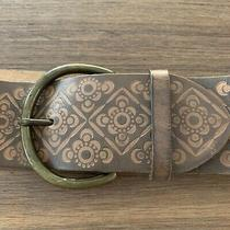 Womens Gap 1969 Wide Brown Tooled Leather Belt Brass Buckle Size Large Photo
